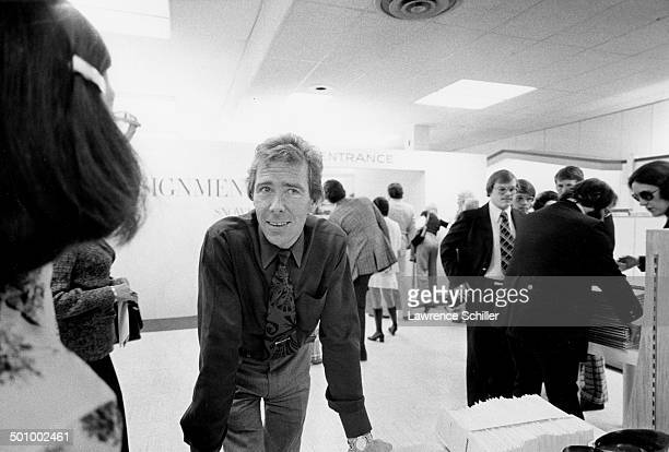 View of British photographer Antony ArmstrongJones 1st Earl of Snowdon at his 'Assignments' exhibition New York New York 1974