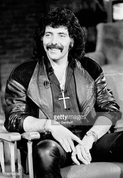 View of British Rock musician Tony Iommi of the band Black Sabbath during an interview at MTV Studios New York New York February 5 1986 He was...