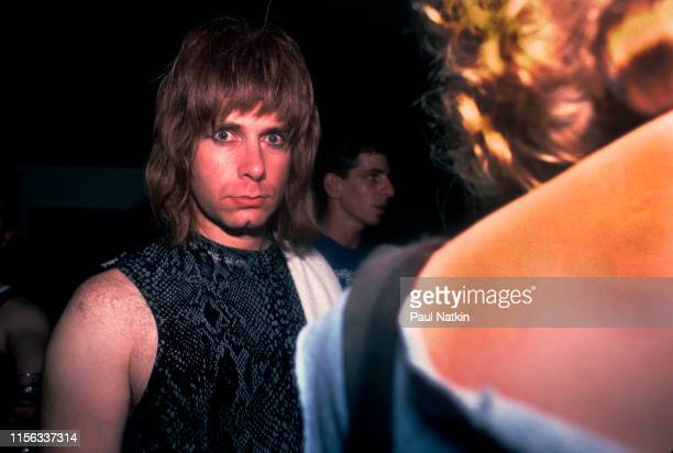 View of BritishAmerican comedian Christopher Guest in costume as British musician Nigel Tufnel of the group Spinal Tap backstage at the Metro Chicago...