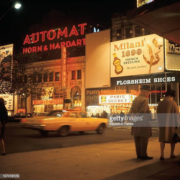 View Of Broadway By Night Witn Its Animated Streets In New York During The Seventies