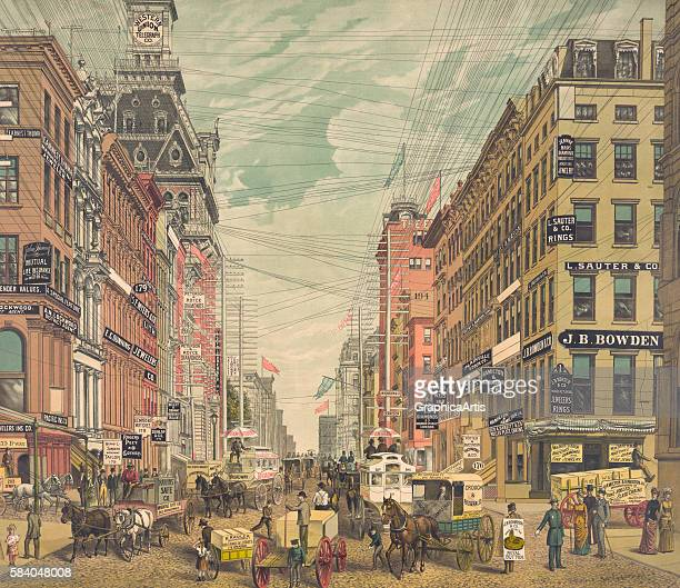 View of Broadway in New York City with busy street vendors and advertisements circa 1880 Chromolithograph