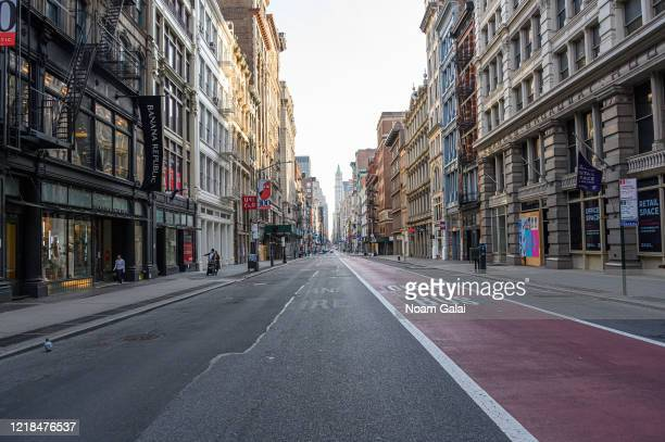 A view of Broadway in SoHo during the coronavirus pandemic on April 12 2020 in New York City COVID19 has spread to most countries around the world...