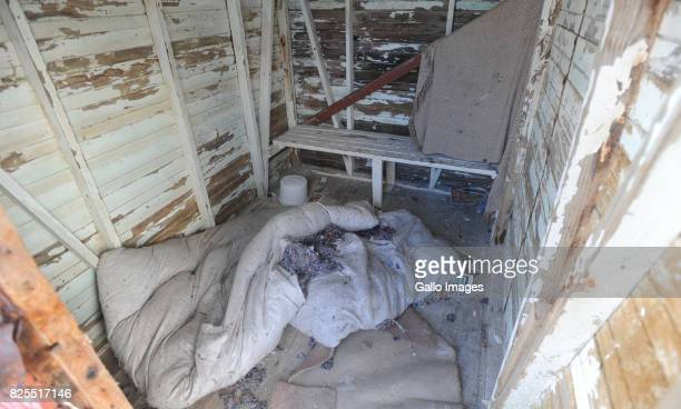 A view of broken blankets inside one of the huts August 02 2017 in Cape Town South Africa The beach huts that are part of Muizenbergs heritage is in...
