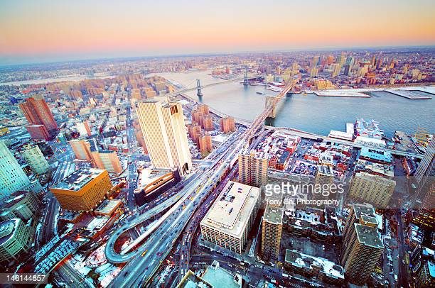 view of brooklyn bridge and city - south street seaport stock pictures, royalty-free photos & images