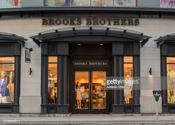 View of Brooks Brothers storefront closed during the COVID-19 crisis on May 06, 2020 in Vancouver, Canada. All non-essential retail has been closed...