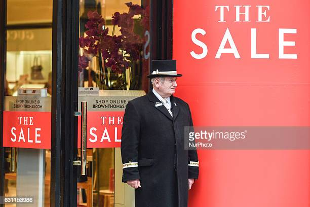 A view of Brown Thomas shop entrance in Dublin's Grafton Street with 'The SALE' sign as the start of the new year brings with it all January sales...