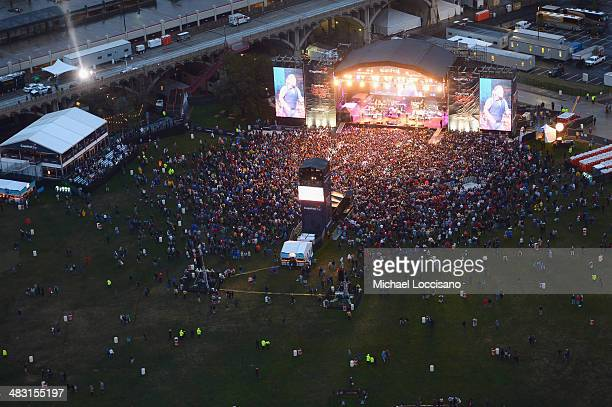 A view of Bruce Springsteen performing from the Reunion Tower at the Capital One JamFest during the NCAA March Madness Music Festival Day 3 at...