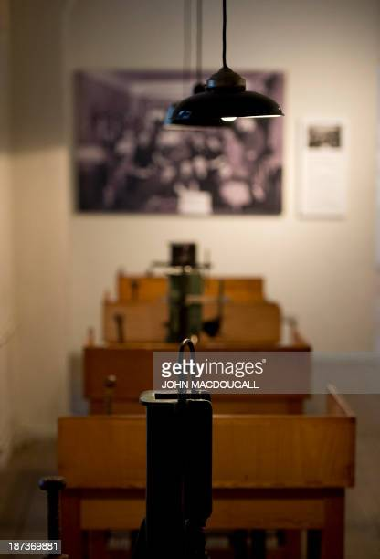 View of brush-making machines in the Otto Weidt Museum in Berlin on November 8, 2013. Otto Weidt, a German brush factory owner, employed many Jews,...