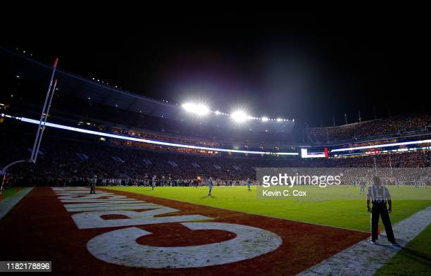 View of Bryant-Denny Stadium during the first half of the game between the Alabama Crimson Tide and the Tennessee Volunteers on October 19, 2019 in...