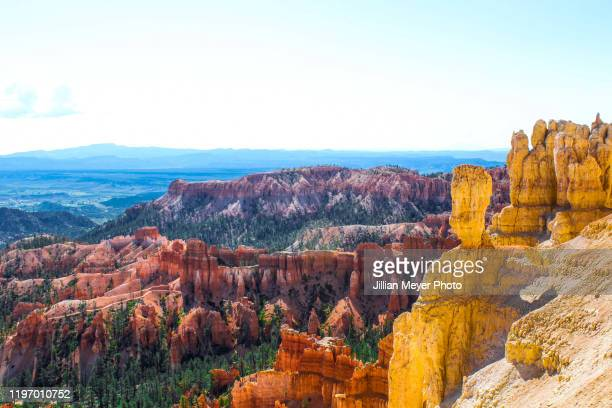 view of bryce canyon national park rock formations from up high during the day - amphitheatre stock pictures, royalty-free photos & images