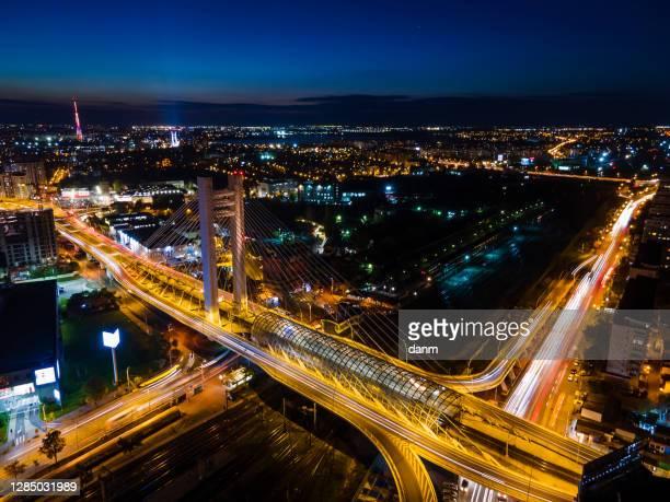 view of bucharest from above during the night, romania - bukarest stock-fotos und bilder
