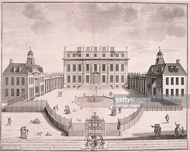 View of Buckingham House Westminster London with figures 1710 Buckingham House was reconstructed as Buckingham Palace in the 1820s