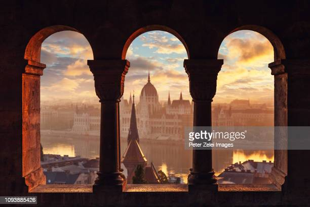view of budapest with the hungarian parliament building - ブダペスト ストックフォトと画像