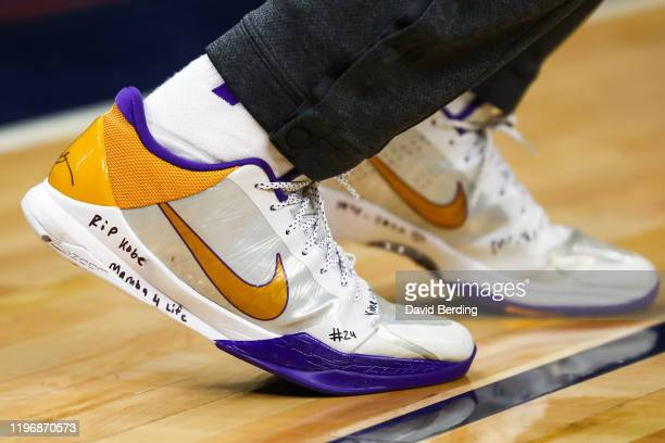 A view of Buddy Hield of the Sacramento Kings shoes honoring NBA legend Kobe Bryant prior to the start of the game against the Minnesota Timberwolves...