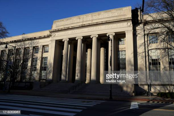 A view of Building 7 on the campus of Massachusetts Institute of Technology on March 31 2020 in Cambridge Massachusetts Students at Universities...