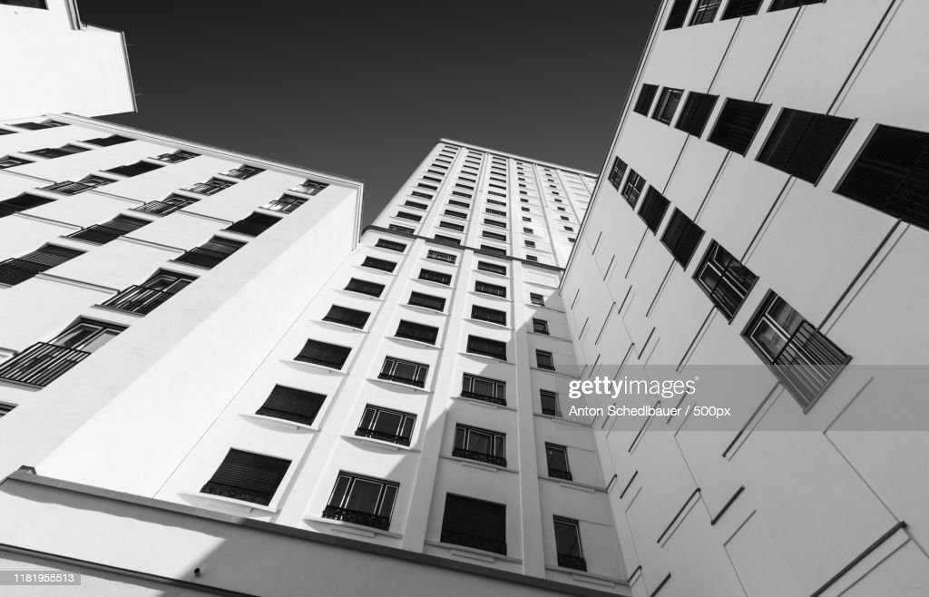 View of building exterior from below : Stock-Foto
