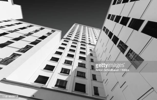 view of building exterior from below - anton schedlbauer stock-fotos und bilder