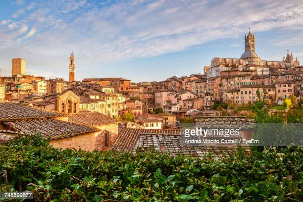 view of buildings against cloudy sky - siena italy stock photos and pictures