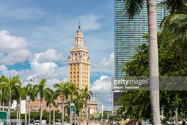 view of buildings and the freedom tower at downtown miami, florida state, usa. - miami dade county stock photos and pictures
