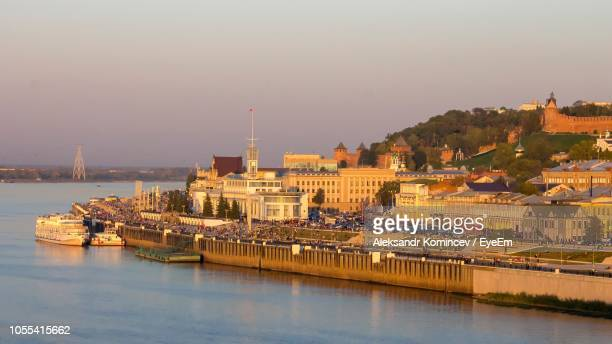view of buildings at waterfront - nizhny novgorod oblast stock photos and pictures