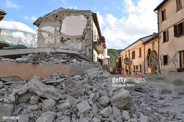 View of buildings damaged by the earthquake on August 24, 2016 in Arquata del Tronto, Italy. Central Italy was struck by a powerful, 6.2-magnitude...
