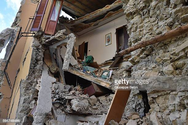 A view of buildings damaged by the earthquake on August 24 2016 in Arquata del Tronto Italy Central Italy was struck by a powerful 62magnitude...