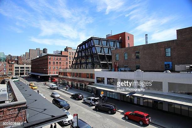 View of buildings from the Highline elevated park in the Meatpacking District, Manhattan, New York City