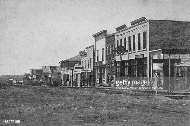 View of buildings in a small frontier town on the Plains during America's westward expansion era nineteenth century