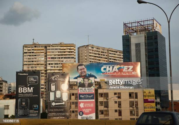 A view of buildings in Caracas with a poster supporting President Hugo Chavez Venezuela 28th February 2013 The slogan reads 'Chavez heart of my...
