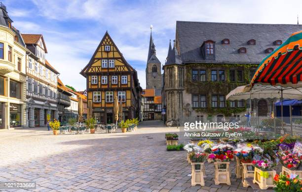 view of buildings in city - saxony anhalt stock pictures, royalty-free photos & images