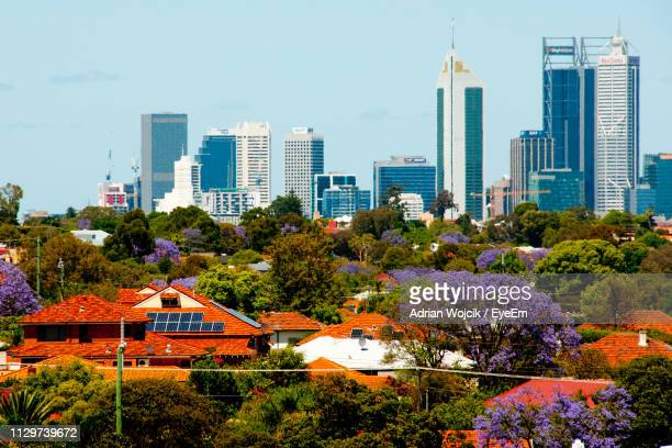 view of buildings in city - perth stock pictures, royalty-free photos & images