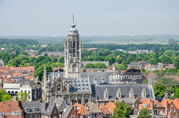 view of buildings in city - middelburg netherlands stock pictures, royalty-free photos & images
