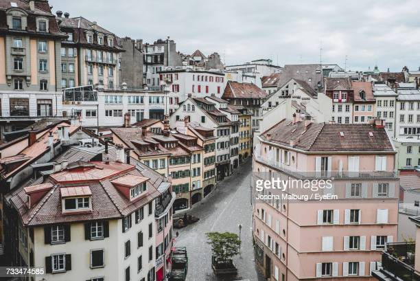 view of buildings in city - lausanne stock pictures, royalty-free photos & images