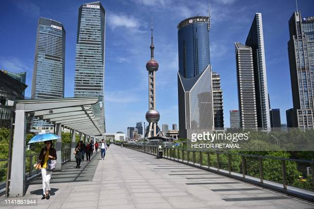 View of buildings in the financial district of Lujiazui in Shanghai on May 7, 2019.