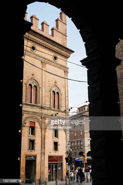 """view of buildings in the streets in the city of bologna, italy. - """"martine doucet"""" or martinedoucet stock pictures, royalty-free photos & images"""