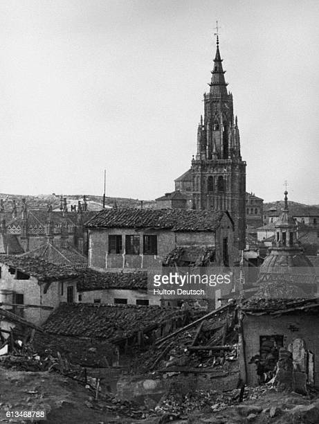 A view of buildings in Toledo damaged during the Civil War seen from the Alcazar | Location Toledo Spain