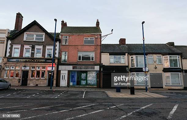 A view of buildings on Redcar high street on September 27 2016 in Redcar United Kingdom One year on since the SSI steel making plant at Redcar was...