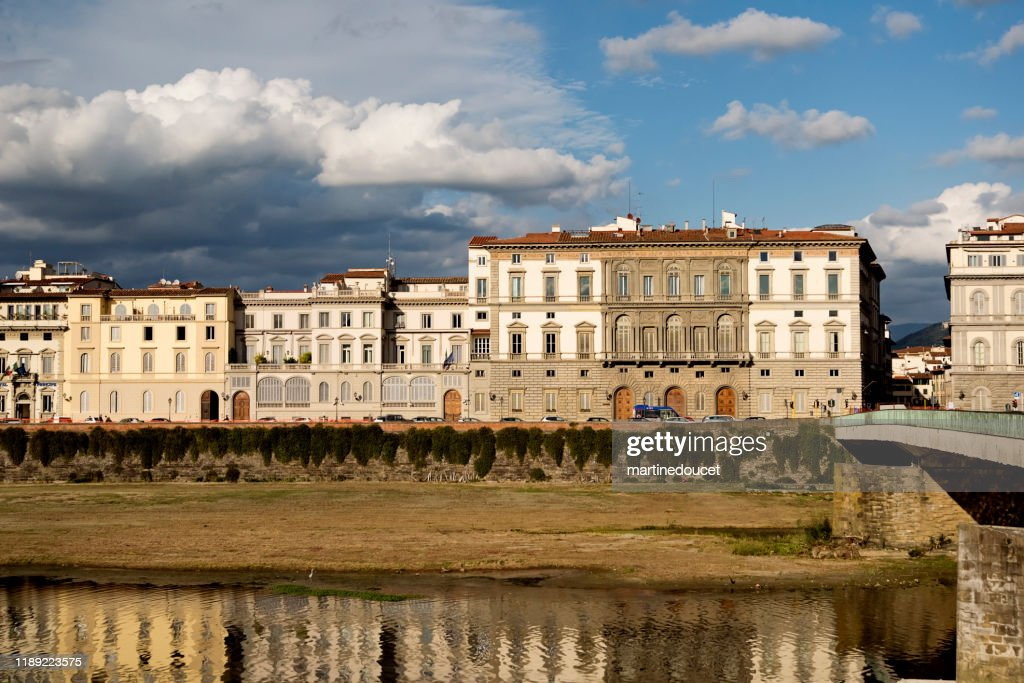 View of buildings on the Arno river, Florence Italy : Stock Photo