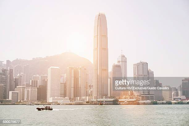 View of buildings on Victoria Harbour, Hong Kong, China