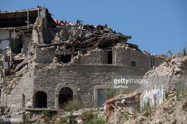 View of buildings which collapsed with the powerful earthquake in the municipality of Arquata del Tronto, Italy, on July 31 2020. Central Italy has...