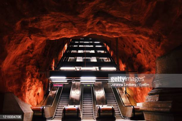 view of built escalator in subway - stockholm stock pictures, royalty-free photos & images