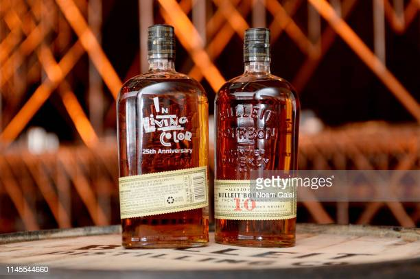 A view of Bulleit 10year old bottles on display at the 25th Anniversary of In Living Color After Party at the Bulleit 3D Printed Frontier Lounge At...