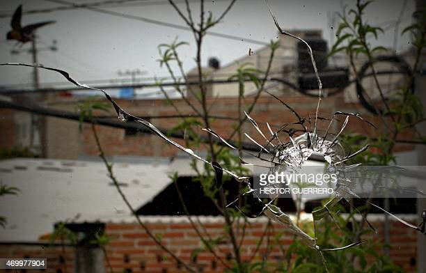 View of bullet holes in the window of a neighbouring house to that where gunmen attacked the police in Oxnard street in Ocotlan Jalisco state on...