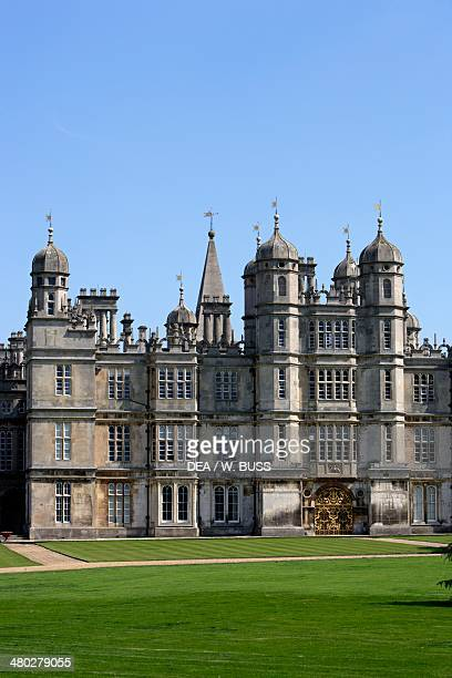 View of Burghley House Elizabethan style built by William Cecil Stamford Lincolnshire United Kingdom