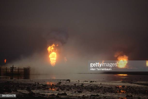 View of burning oil wells Kuwait 1991