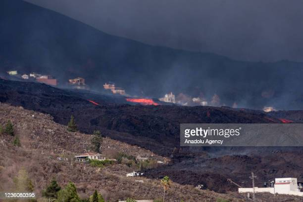 View of burnt areas after the eruption of Cumbre Vieja volcano as it advances throughout the island, in Tajuya, La Palma, Canary islands, Spain, 23...
