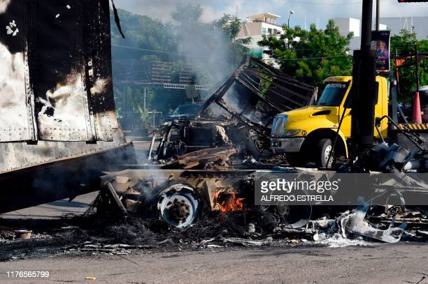 View of burnt vehicles after heavily armed gunmen waged an allout battle against Mexican security forces in Culiacan Sinaloa state Mexico on October...