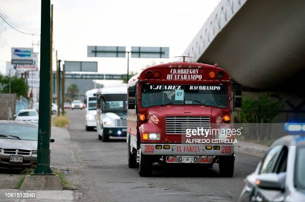 View of buses transporting Central American migrants mostly Hondurans towards the United States in Hermosillo Sonora state Mexico on November 14 2018...