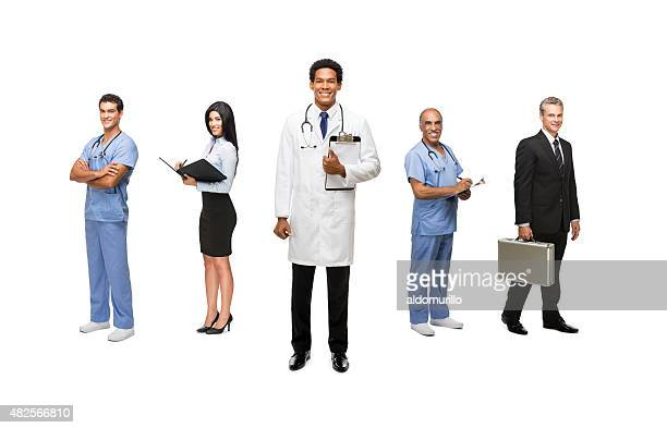 View of business and medical professionals