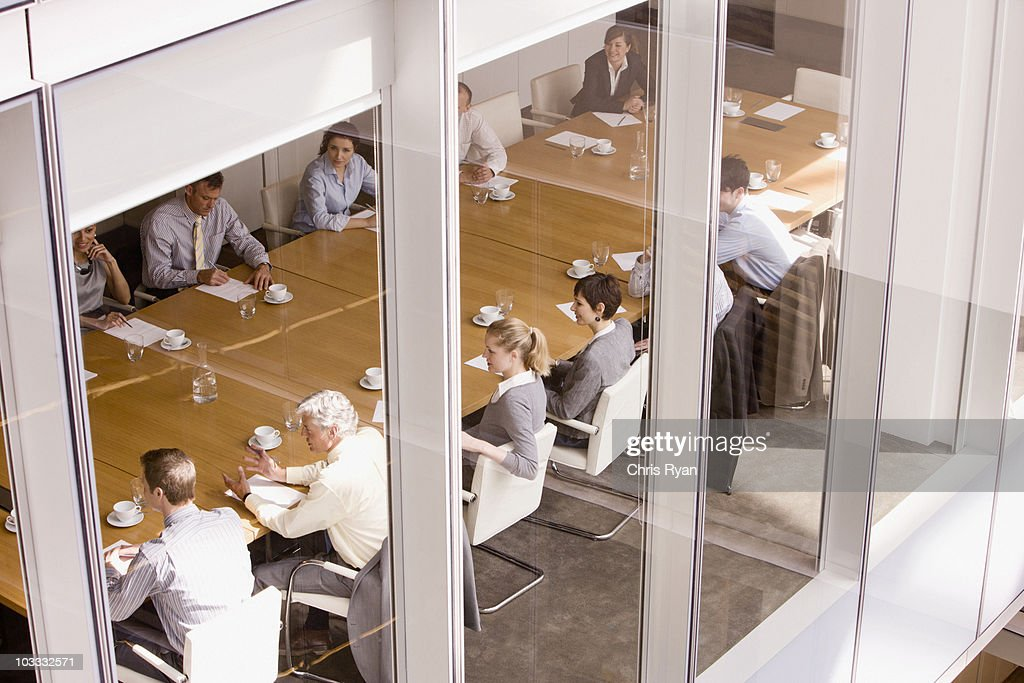 View of business people sitting in conference room : Stock Photo